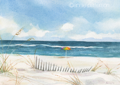 Annie patterson art and illustration beach watercolor and for Watercolor scenes beginners
